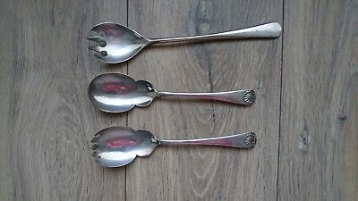 Joblot of Mixed 3 x Large Antique Serving Spoons - Vintage Collectable