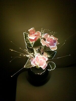 RARE Vintage Retro Fiber Optic Color Changing Flower Lamp Light MINT