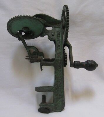 Antique Goodell Turntable Cast Iron Apple Peeler May 24, 1898 Green Paint