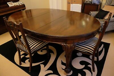 Victorian Mahogany Wind Out Extending Dining Table and Chairs