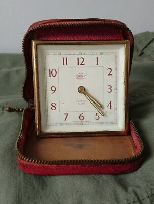 """Vintage """"SMITHS"""" Deluxe 8 Day Travelling Alarm Clock In Green Leather Case"""