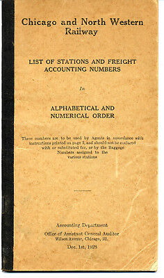 Chicago & North Western Ry. - Station List Booklet From 1928