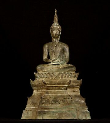 Large Antique 19th Century SE Asia Laos Meditation Buddha Statue - 53cm/21""