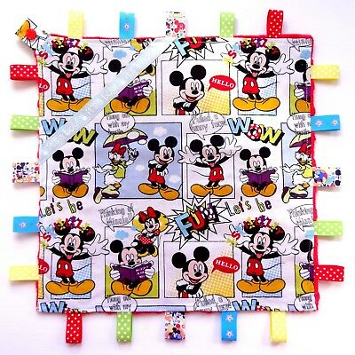 LARGE Size Mickey Mouse Taggie Taggy Tag Blanket Toy comforter dummy clip holder