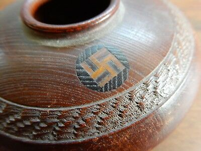 Antique Hair Receiver Navajo or Chinese Swastika Hand carved Inlaid Details