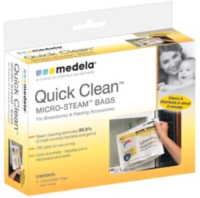Medela Quick Clean Micro Steam Bags #87024 5 count NEW 100 Uses Total