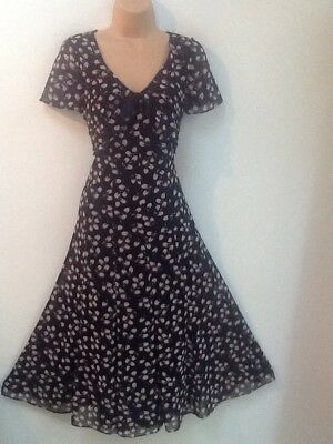 JACQUES VERT size 10 Beautiful Petal Print Chiffon Occasion Dress In Navy & Pink