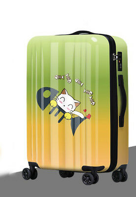 D501 Lock Universal Wheel Green Yellow Cat Travel Suitcase Luggage 24 Inches W