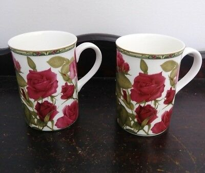 Pair of Collector's Series Royal Bone China Red Rose Tea Cup Mug Fine Bone China
