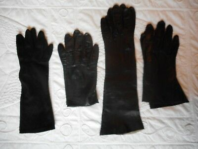 Lot Of Four Vintage Ladies Black Gloves