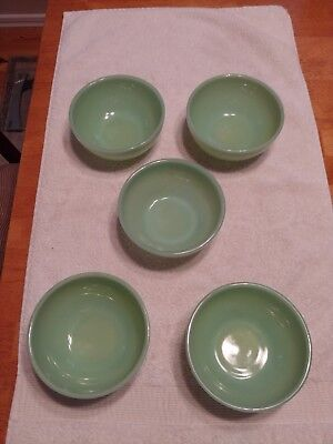 5 Vintage Small Fire King Jadeite Bowls - 5 inch