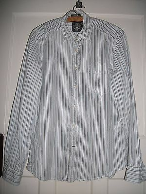 Mens H&m Shirt White Cotton/blue Stripe Worn Good Con Small Mark Rear Of Sleeve