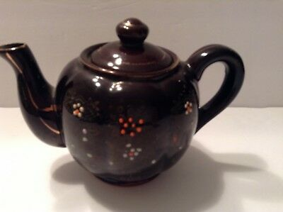 "Vintage Brown Betty Redware Teapot Hand Painted- Made In Japan- 5.5"" with Lid"