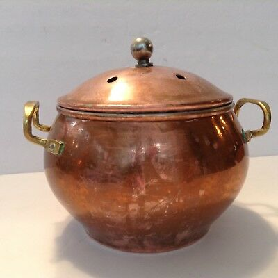 Vintage Copper and  Brass Potpourri Bowl with Lid and Handles