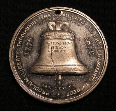 1876 Philadelphia Centennial Expo Medal - Liberty Bell - Independence Hall