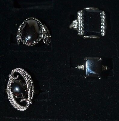 Vintage Silver Tone Hematite Black  Stone Ring  Size 7 and Adjustable Lot of 4