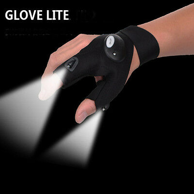 Fingerless Glove Lite LED Flashlight Fishing Repair Survival Outdoor Rescue Tool