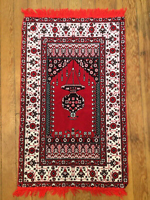 Prayer Rug or Wall Hanging  44 X 24 Very Soft Red w Fringe