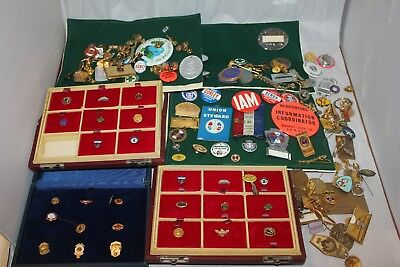 Huge Collection Assorted Union & Advertising Buttons, Lapel Pins, Stickpins, Mor