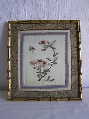 Vintage / antique Japanese silk embroidery - framed and under glass # 1