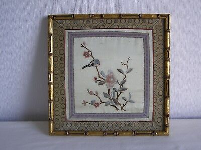 Vintage / antique Japanese silk embroidery - framed and under glass # 2
