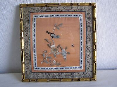 Vintage / antique Japanese silk embroidery - framed and under glass # 3