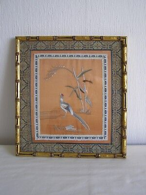 Vintage / antique Japanese silk embroidery - framed and under glass # 4