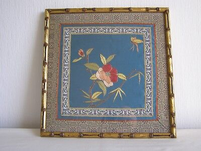 Vintage / antique Japanese silk embroidery - framed and under glass # 5