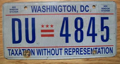 SINGLE WASHINGTON DC / DISTRICT of COLUMBIA LICENSE PLATE - 2002 - DU=4845