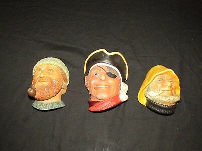 Vintage Legend Products Fishermen & Pirate Wall Hanging Chalkware England !