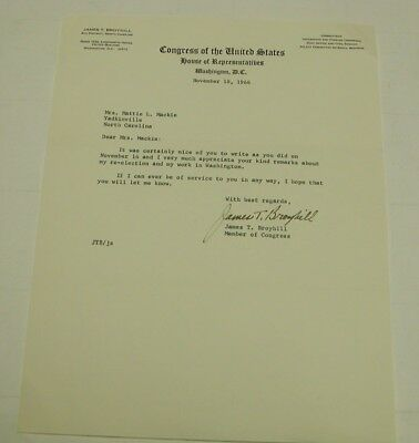 N C Member of congress James T Broyhill. Letter on Official Congress  Stationary