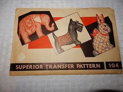 "Vintage sewing ""Superior Transfer Pattern 104"" w/ elephant, scottie dog, bunny"