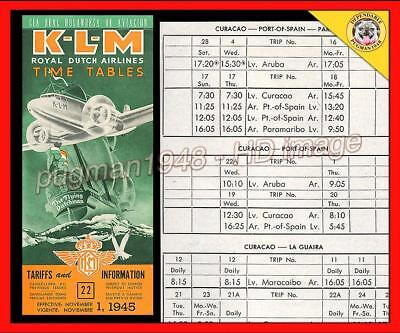 KLM ROYAL DUTCH AIRLINES 1945 AIRLINE TIMETABLE SCHEDULE...Caribbean DC-3 cover