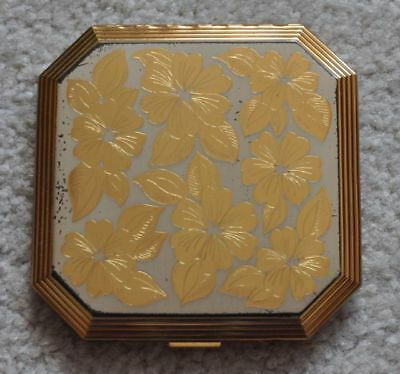 Vintage Wadsworth Gold & Silver Inlay Etched Octagonal Powder Mirror Compact