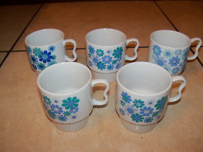 SET OF 5 RETRO BLUE COFFEE MUGS CUPS DAISIES NEVCO JAPAN VINTAGE Stackable