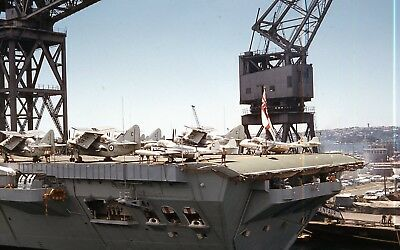 original kodachrome color 35 mm slide 1960 Royal Navy airplanes aircraft liner