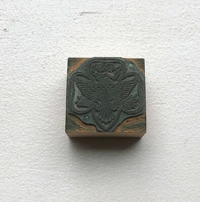 Vintage Girl Scout Printing Block - GS USA Girl Scout Trefoil Wood Stamp Block