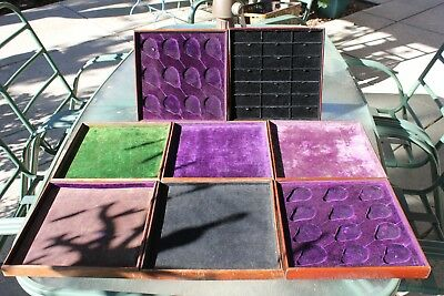 8 Antique Wood & Satin Cloth Jewelry Store Display Trays   2 for Pocket Watches
