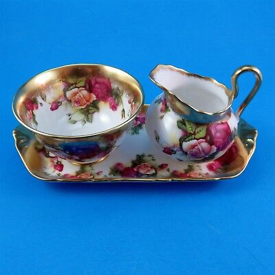 3 Piece Royal Chelsea Golden Rose Creamer, Sugar and Tray