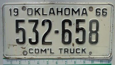 1966 Oklahoma Commercial Truck license plate tag -532-658