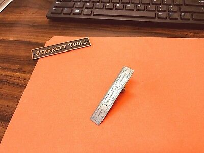 "STARRETT No.604R  3"" Long Spring-Tempered Steel Rule With 4R Graduations. ""USA"""