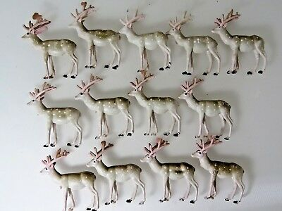"13 Vintage Small Solid Plastic Reindeer Hong Kong Xmas Decoration 2.25"" Lot 9854"