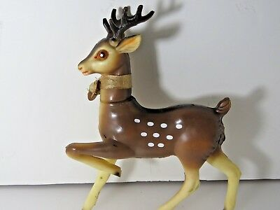 "Large Vintage Plastic Rubber Rudolph Reindeer Swivel Head Xmas 9"" Japan 9847"