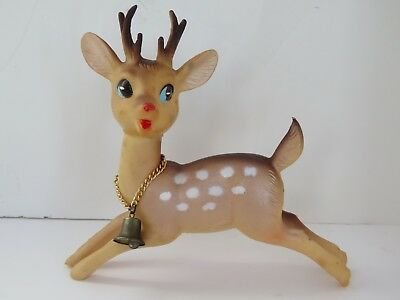 "Vintage Soft Plastic Rubber Rudolph Reindeer Swivel Head Bell Xmas 5"" Japan 9834"