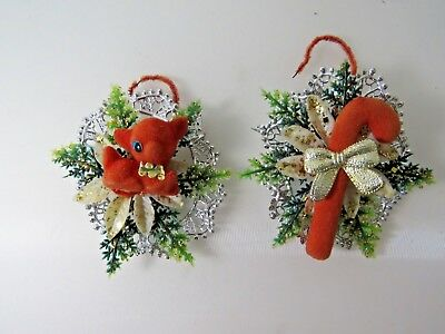 2 Vintage Christmas Flocked Soft Plastic Lace Ornaments Deer Cane Lot #9914