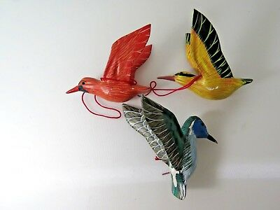 3 Vintage Hand Painted Wooden Bird Ornaments Christmas Decoration Lot #9884