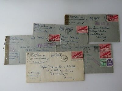 6 WWII Letters Lot Jackson Barracks Area New Orleans LA  Albert Shaw WW2 #9732