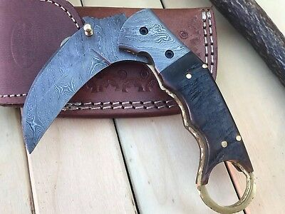 "HUNTEX Custom Handmade Damascus 4.7"" Long Hunting Folding Pocket Karambit Knife"