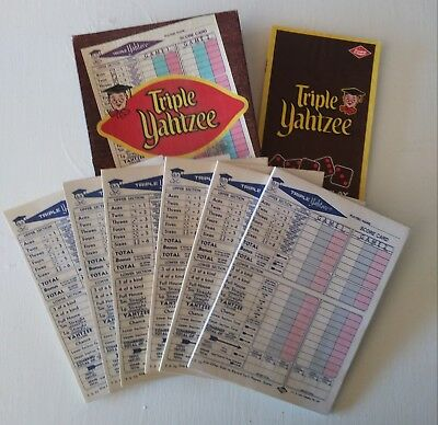 6 (six) Vintage 1972 Triple Yahtzee Game Score Pads - 140 Sheets Total
