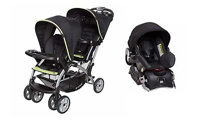 Baby Trend Sit N Stand Double Stroller With One Infant Car Seat Black Green Set